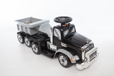 (Black) Mack Truck with Trailer: Battery Powered Ride-On