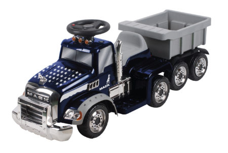 (Navy Blue: Star Deco) Mack Truck with Trailer: Battery Powered Ride-On