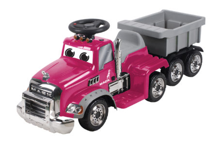 (Pink) Mack Truck with Trailer: Battery Powered Ride-On