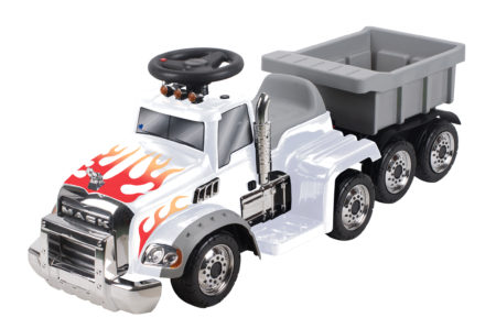 (White: Flame Deco) Mack Truck with Trailer: Battery Powered Ride-On
