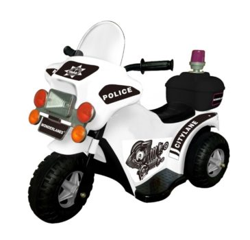 Wonderlanes White Lil Police Motorcycle: 6V Battery Powered Ride-On